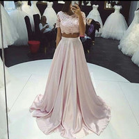 2016 Sexy Two Piece Pink Lace Long Prom Dresses Scoop Satin A Line Floor-Length Party Dress Homecoming Dresses Vestidos De Festa