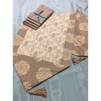 French General Taupe Reversible Table Runner and Napkin Set