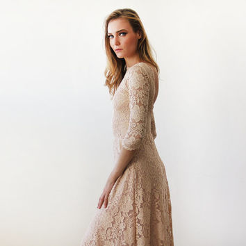 Floral lace backless-trim  maxi Blush gown, Lace pink gown , Maxi lace dress