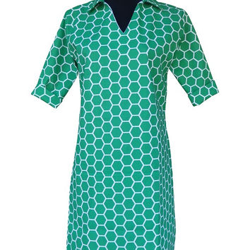 Kelly Green Geometric Polo Dress