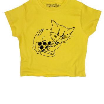 Cat Eats Pizza ∘ Crop Top ∘ Kawaii ∘ Baby Girl ∘ Daddy ∘ Grunge ∘ Baby Pink Yellow Blue ∘ Womens Ladies ∘ S M L XL 2XL