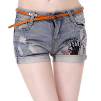 Women's Vintage Retro Destroyed Water Wash Handprint and Letters Print Low Rise Cuffed Denim Shorts