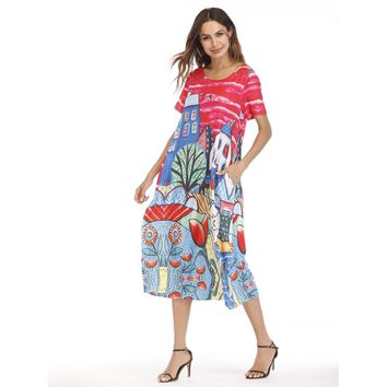 Multicolor House Print Hidden Pocket Dress