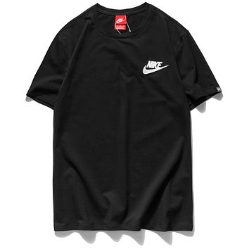 Nike Hot Sale Women Men Classic Print Round Collar T-Shirt Top Black