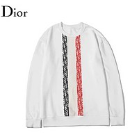 DIOR Fashion New  Letter Print Women Men  Long Sleeve Top Sweater White