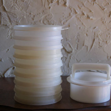 Vintage 1970s Plastic White TUPPERWARE 9 Piece Hamburger Press And Hamburger Containers