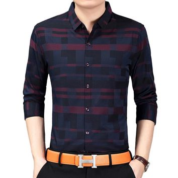 Men Spring Casual Business Plaid Print Long Sleeve Button Down Shirt Top