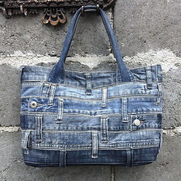 Denim tote bag handbag recycled distressed grunge rock