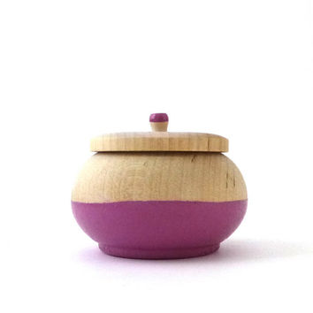 Radiant orchid painted wood box, jewelry box, round wooden box, dipped wood
