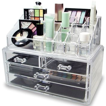 NILECORP Acrylic Jewelry & Cosmetic Storage Display Boxes Two Pieces Set
