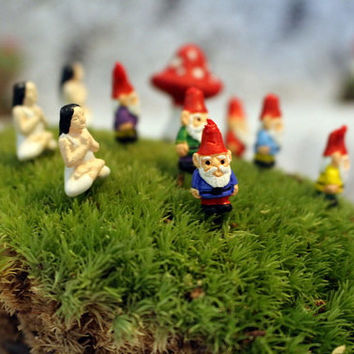 """Miniature gnomes-Yoga Girl-Teeny Tiny Garden gnome-Wee fairy garden gnomes-6 colors to choose from-1/2"""" tall  without post"""