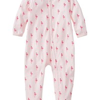Flamingo print footed one-piece