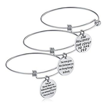 Birthday Gifts for Women Girls  3PCS Stainless Steel Inspirational Charm Bracelets Jewelry Set Motivational Expendable Bangles Anniversary Gift Ideas Silver3PCS
