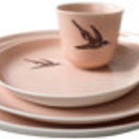 porcelain table ware - pink hummingbird - ABC Carpet & Home