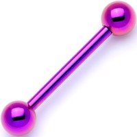 Purple Electro Titanium Barbell Tongue Ring