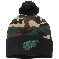 Detroit Red Wings New Era Camo Top 2 Woodland Knit Beanie – Black/Camo