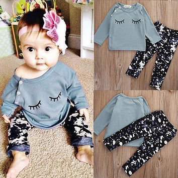 Baby Boy Girl Autumn Warm Clothing Set Toddler Kids Infant Baby Girls Autumn Outfit Clothes T-shirt Tops+Pants 2PCS Set