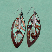 Johnny Loves June Turquoise Navajo Leather Feather Earrings