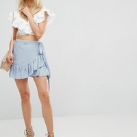 Arrive Tie Detail Wrap Skirt with Frill Hem Detail at asos.com