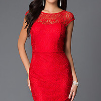 Short Red Lace Cocktail Dress with Cap Sleeves