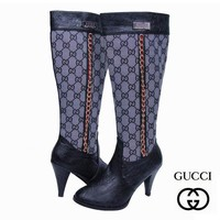 GUCCI Fashion Leather Chain High Boot Heels Shoes1