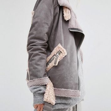 Story Of Lola Longline Aviator Jacket In Faux Shearling at asos.com