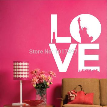 Amazon hot 1 LOVE quotes ,New York Modern Landscape Art Wall Stickers lettering love words free shipping