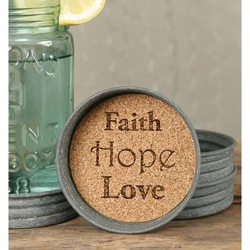 Mason Jar Lid Coasters - Faith Hope Love