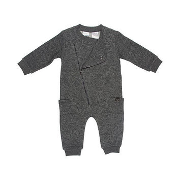 Kardashian Kids Boys Grey Marled Biker Asymmetrical Zip Up Coverall