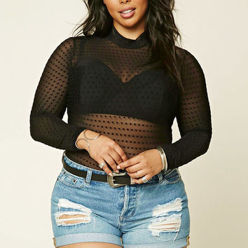 Plus Size Sheer Dotted Top