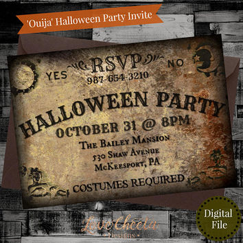 Spooky Halloween Party Invite, Ouija Board Style Invitation, Printable Scary Adult Costume Party Invites