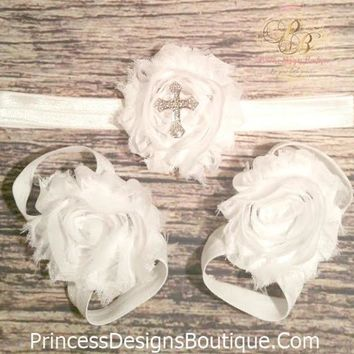 White Shabby Rhinestone Cross Headband and Barefoot Sandals Set