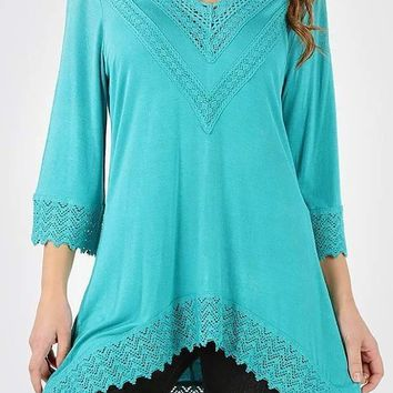 V Neck Lace Trimmed Plus Tunic Top