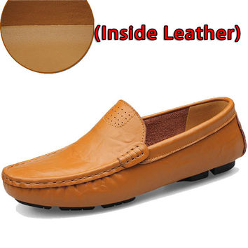 SURGUT Leather & Fur Vintage Genuine Leather Soft Loafers for Men Slip On Moccasins Boat Flats Shoes Big Size 36-50