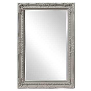 "Howard Elliott Queen Ann Rectangular Glossy Nickel Mirror 24"" x 36"" x 1"""