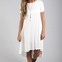 solid hi-low tee dress - ivory