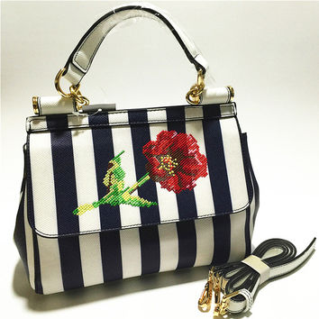 New fashion design in Sicily wave point stripe geometry roses retro casual totes ladies handbag shoulder bag messenger bag purse