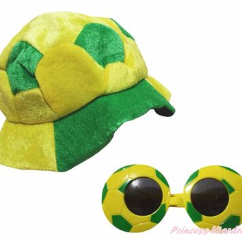 World Cup Brazil Football Soccer Warm Hat Party Costume Headgear Cap Glasses 2pc