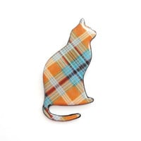 Orange blue plaid cat brooch