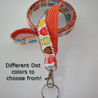 Lanyard  ID Badge Holder - Lobster clasp and key ring - design your own - Urban owls with orange pin dots -  two toned double sided