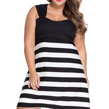 Chicloth Black And White Block Stripe Big Girl Skater Dress