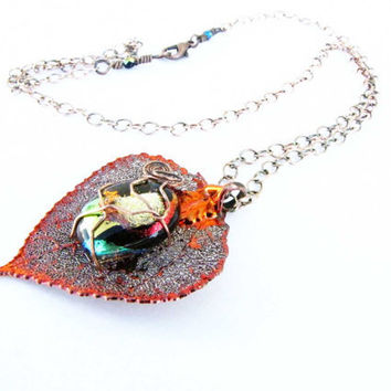 Fused Glass Copper  Plated Leaf Pendant Wire Wrapped by Readesign