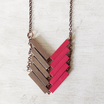 Wood Geometric Necklace // ASIA // Minimal Jewelry // Neon // Beige // Pink Hand-Painted Necklace // Modern Necklaces // Chevron Necklace