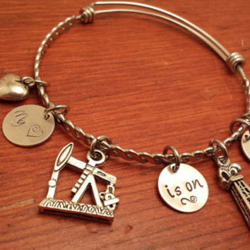 "Hand stamped oilfield bangle bracelet ""My (heart) is on a rig"""