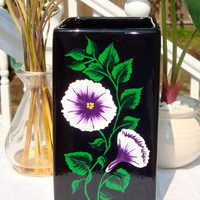 Painted Black Vase With Purple and White Flowers