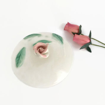Rose Ring Box, Ring Dish with Rose Finial 1940s, Ring Bearer Box, Pastel Boudoir Box Trinket Box, Bridal Shower Gift Feminine Romantic Decor