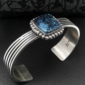 New Old Stock - Handcrafted Navajo HAROLD TAHE Deep Channel Sterling & Kingman Black Spiderweb Turquoise Cuff Bracelet