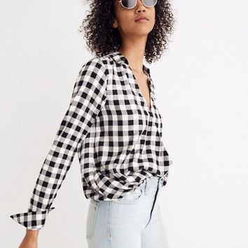 Wrap-Front Shirt in Buffalo Check
