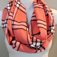 Salmon Pink Flannel Plaid Infinity Scarf Womens Plaid Fashion Holiday Scarves Girls Pink Plaid Circle Scarves Gift for Her Stocking Stuffer