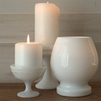 Modern Milk Glass Compote Collection, White Candle Display, Milk Glass Pillar Candle Holders, White Pillar Candle Holder